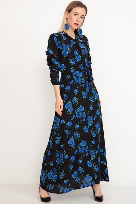 Gömlek Yaka Kuşaklı Uzun Elbise-41035002598