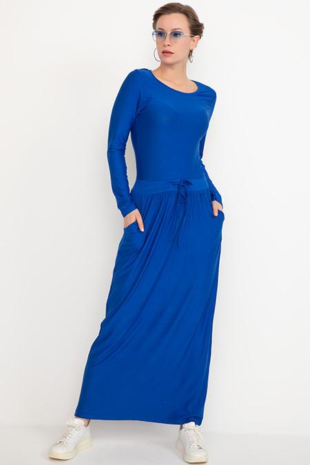 Bel Bağcıklı Uzun Kol Elbise-41035004051