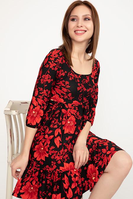Kare Yaka Fırfırlı Elbise-41035004978