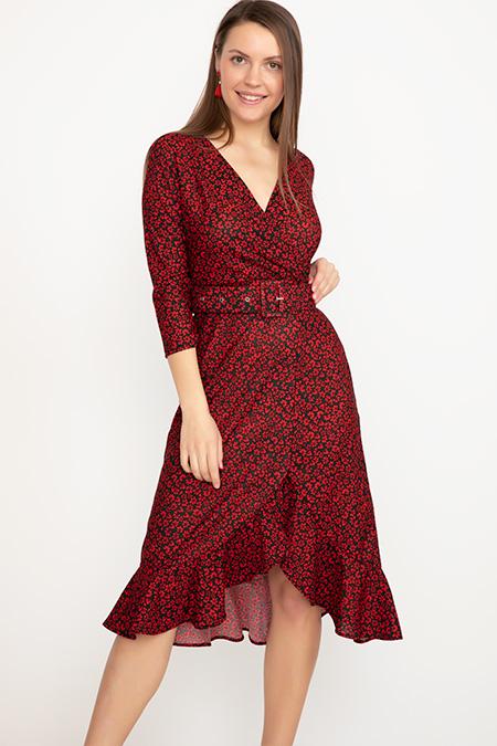 Kruvaze Yaka Fırfırlı Elbise-41035007980