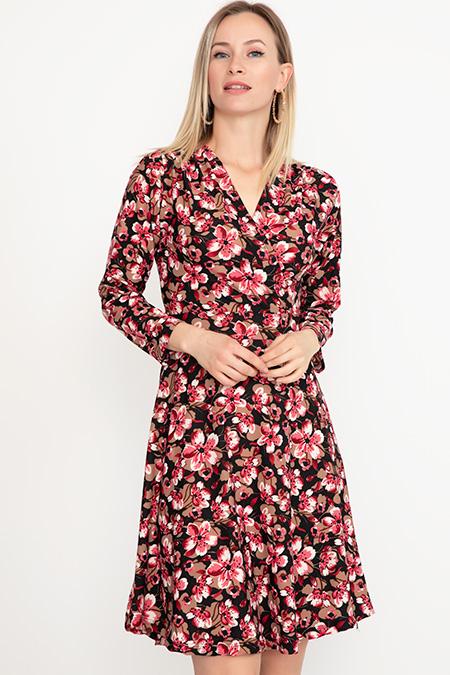 Kruvaze Yaka Desenli Elbise-41035038449