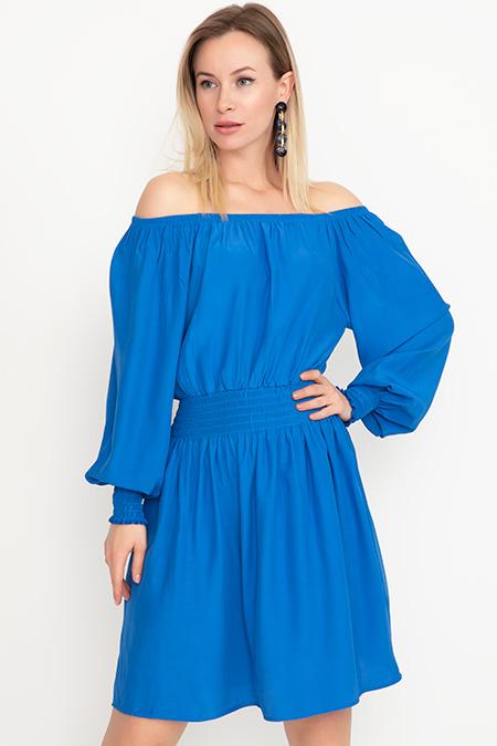 Kayık Yaka Elbise-41035039065