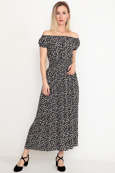 Kayık Yaka Uzun Elbise-41035039074