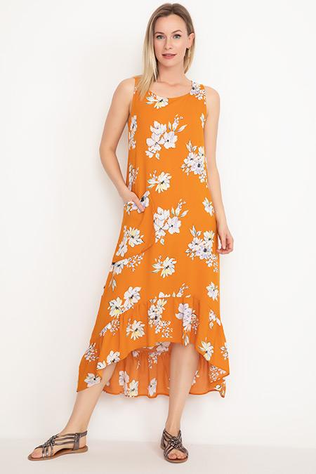 Desenli Fırfırlı Elbise-41035039350