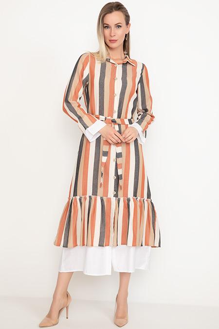 Kalın Çizgili Garnili Elbise-41035041228