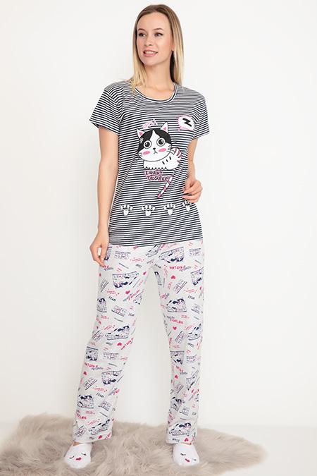Kısa Kol Pijama Takımı-41035068931