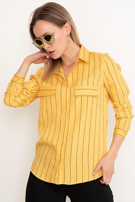 Yakalı Çizgili Gömlek-41035071857