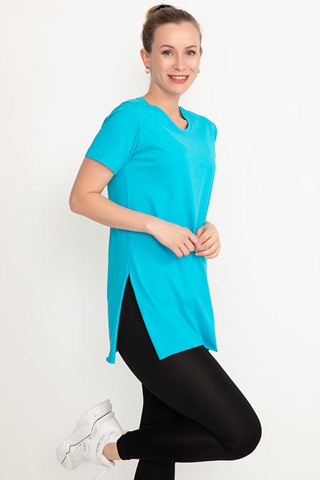 Yırtmaçlı Sıfır Yaka T-shirt-41035076109