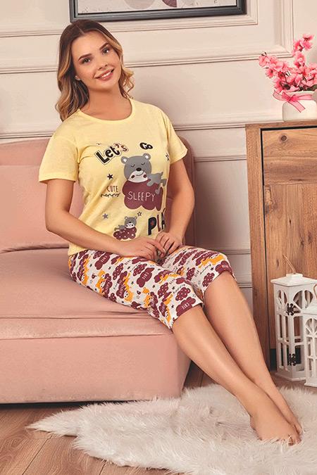 Baskılı Kapri Pijama Takımı-41035077498