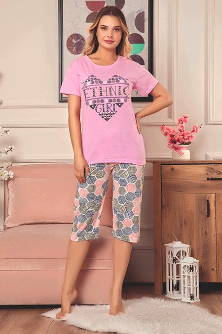 Baskılı Kapri Pijama Takımı-41035077515