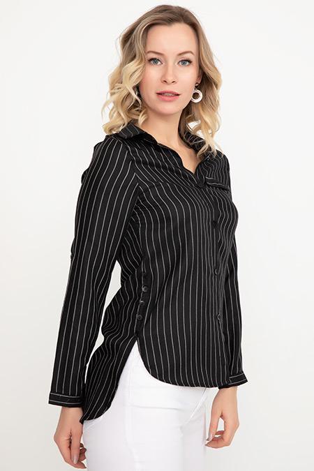 Çizgili Sahte Cep Gömlek-5000943149