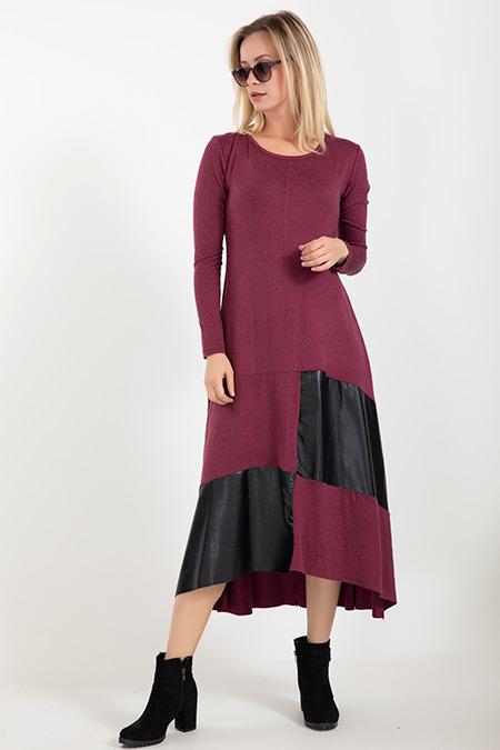Deri Detaylı Elbise-5012042491