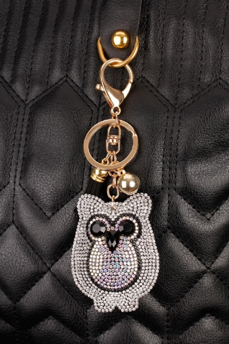 Baykuş Figürülü Parlak Taşlı Anahtarlık-AN184
