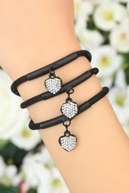 Siyah Renk Zirkon Taşlı Kalp Aksesuarlı Bayan Çoklu Bileklik-BB1609