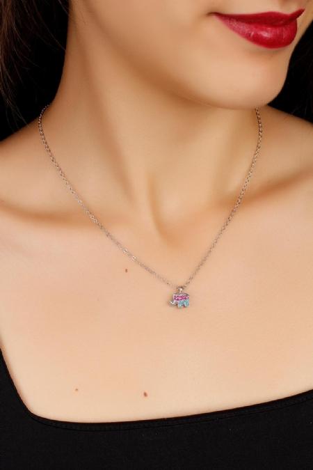 Pembe ve Mavi Renk Taşlı Fil Figürlü Bayan Kolye-BKO1604