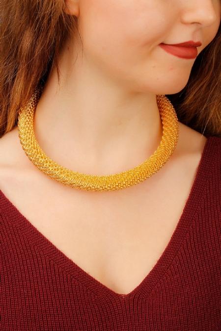 Sarı Renk Bayan Yaka Kolye-BKO2103