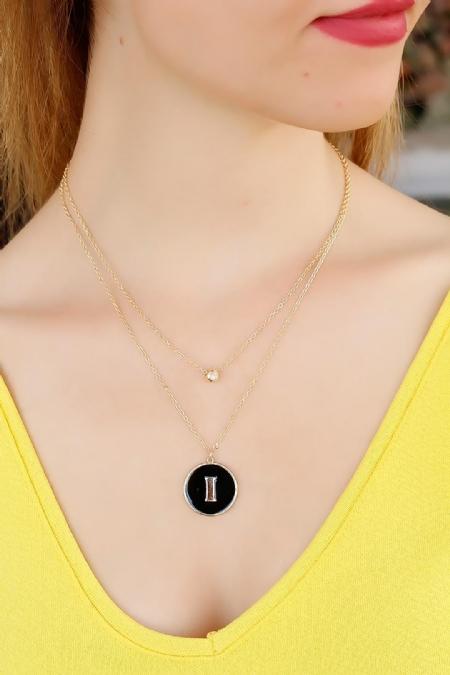 Zirkon Taşlı Siyah Renk I Harfli Tasarımlı Bayan Kolye-BKO2498