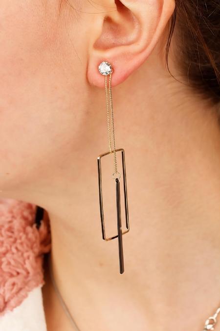 Metal Tasarım Bayan Sallantı Küpe-BKP1422