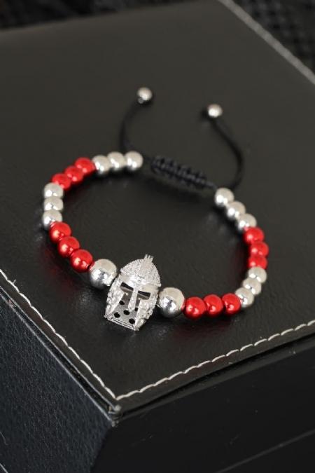 Kırmızı Silver Renk Metal Boncuklu Miğfer Figürlü Erkek Bileklik-EB1730