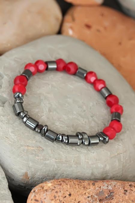 Kırmızı Renk Havlit ve Hematit Doğal Taşlı Erkek Bileklik-EB1790