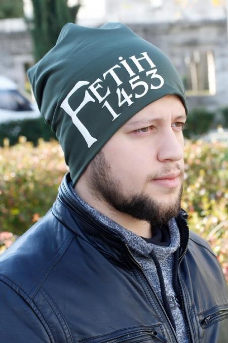 Fetih 1453 Yazılı Yeşil Renk Erkek Bere-EBR107