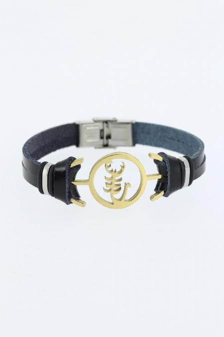 Gold Renk Akrep Figürlü Metal Aksesuarlı Siyah Renk Deri Erkek Bileklik-EB1338