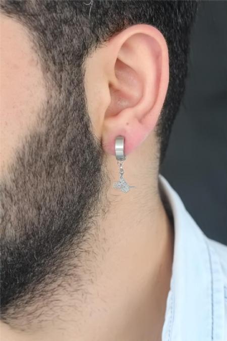 Silver Renk Kaplama Osmanlı Tuğra Figürlü Kıstırmalı Çelik Erkek Küpe-EKP117