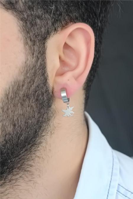 Silver Renk Kaplama Kartal Figürlü Çelik Kıstırmalı Erkek Küpe-EKP132
