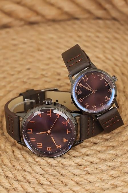 Kahverengi Deri Kordonlu Rose Metal Kasa Sevgili Saatleri-SGK1080-KS