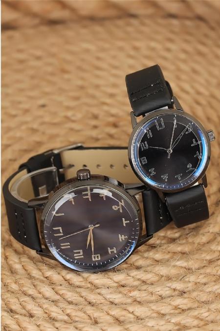 Siyah Deri Kordonlu Füme Renk Metal Kasa Sevgili Saatleri-SGK1082-KS