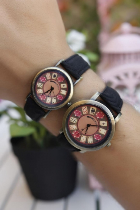 Siyah Kot Kordonlu İskambil Tasarımlı Sevgili Kombini-SGK448