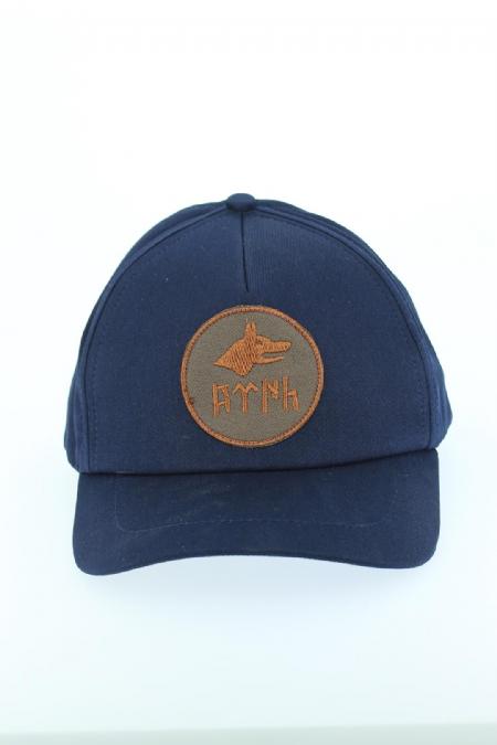 Göktürkçe Yazılı ve Bozkurt Figürlü Lacivert Renk Şapka-SPK107