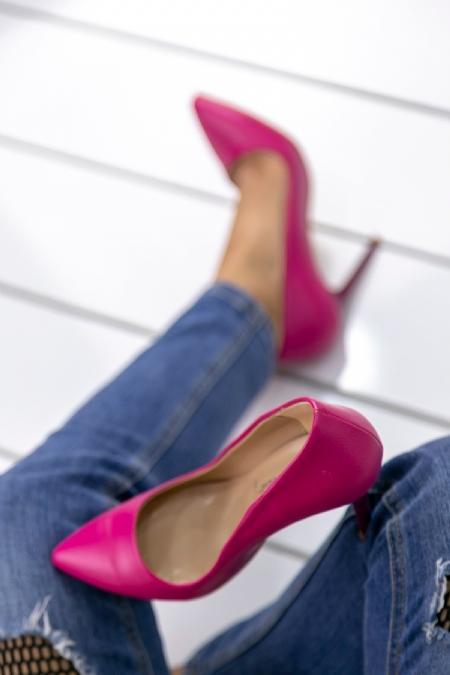 Skpem Fuşya Cilt  Bayan Stiletto Ayakkabı-2024