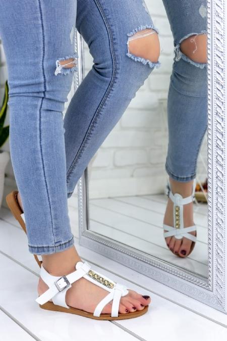 Kenta Beyaz Cilt Sandalet-1059