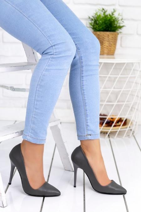 Skpem Gri Cilt Bayan Stiletto Ayakkabı-2020