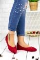 Abela Kırmızı Süet Babet Ayakkabı / Kırmızı