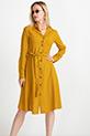 Bağcıklı Puantiyeli Elbise / Hardal