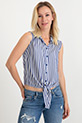 Sıfır Kol Bağlamalı Gömlek / Mavi