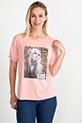 Basklı T-shirt / Somon