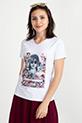 Basklı T-shirt / Beyaz