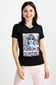 Basklı T-shirt / Siyah