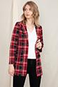 Ekose Düğmeli Ceket / Kırmızı