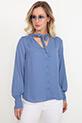 Bağcıklı Şifon Gömlek / Mavi