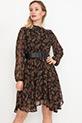 Düğmeli Kemerli Şifon Elbise / Siyah