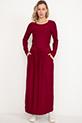 Bel Bağcıklı Uzun Kol Elbise / Bordo