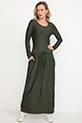 Bel Bağcıklı Uzun Kol Elbise / Haki