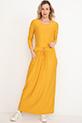 Bel Bağcıklı Uzun Kol Elbise / Hardal