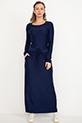 Bel Bağcıklı Uzun Kol Elbise / Lacivert