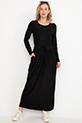 Bel Bağcıklı Uzun Kol Elbise / Siyah