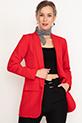 Sahte Cepli Uzun Ceket / Kırmızı